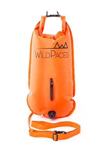 Swim Buoy Safety Tow Float 28 Litres Dry Bag by WildPaces High Visibility Orange ideal for Open Water Swimming SUP Kayaking Fishing Snorkeling