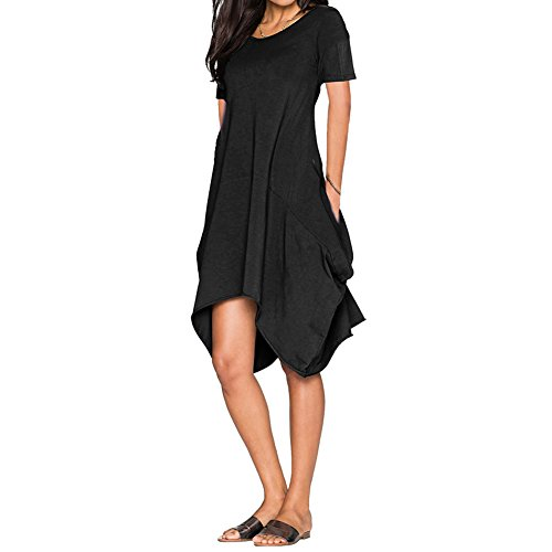 Bodycon4U Womens Asymmetrical Plus Size Caftan Poncho Casual Tunic Top Loose Dress Black S
