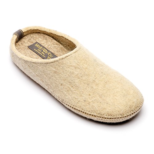 Made For You Women's Natural Wool Slippers with Arch Support Insole, Hypoallergenic, Lightweight with Non-Slip Rubber Sole (5, Beige) ()