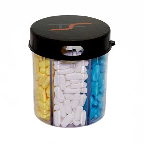 TSF Travel Pill Vitamin Medication Holder Dispenser Organizer Storage