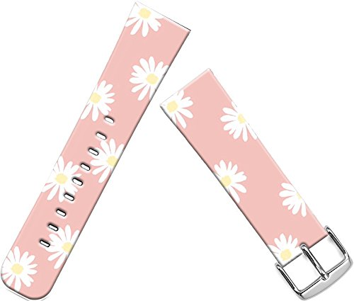 Apple Sunflower (Apple Watch Band Leather 38Mm, Series 1/2/3 Sport & Edition Genuine Leather Apple Watch 2 38mm Strap Iwatch Band Replacement White Lovely Sunflowers On Pink Background With Silver Metal Adapters Put On)