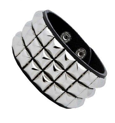 Leather Silver Stud Wristband 80s Gothic Punk Glam Emo (Pyramid Wristband)