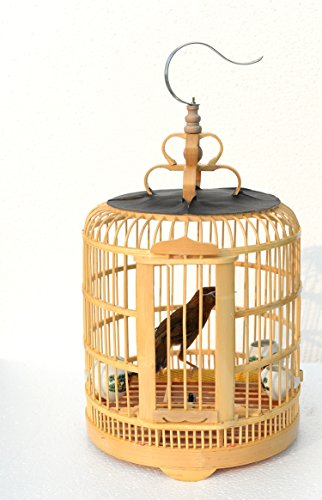 Handmade bamboo birdcage and pet products Parrot cage bird cage [yellow and primary colors] (primary color) -
