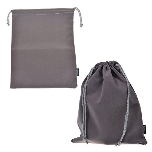 Cosmos ® Set of 2 Premium Gray Travel Carry Drawstring Headphones Pouch Bag (Gray Color)