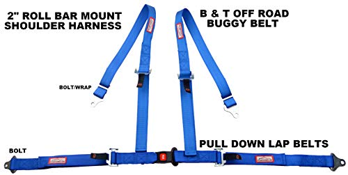 (RACERDIRECT Blue 4 Point SEAT Belt Harness Pull Down Lap Belts ROLL BAR)