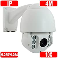 GW Security H.265/H.264 4MP HD 2592 × 1520p @30FPS Real-time IP High Speed Onvif Network Dome PTZ Camera 10X Optical Zoom Waterproof Outdoor/Indoor