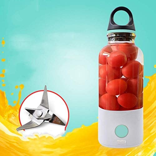 Personal Juicer Cup Blender Pequeño Mezclador Portátil Usb Recargable Fruit Juicer Maker Extractor de Frutas 4 Cuchillas Adecuado para el Hogar Al Aire Libre 600 Ml Azul, O&YQ