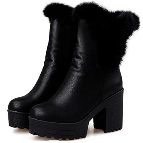 HAPPYLIVE SHOPPING Women's Winter Warm Plush Faux Fur Lined Fashion Waterproof Platform Combat Ankle-High High-Heel Chunky Wedge Snow Boots, Slip On Martin Boots (7 US 38 EU, Black) (Platform Faux Fur)