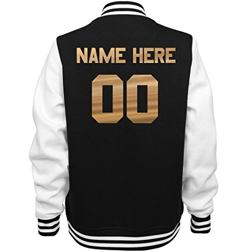 Custom Metallic Sports Name/Number: Ladies Fleece Letterman Varsity Jacket]()