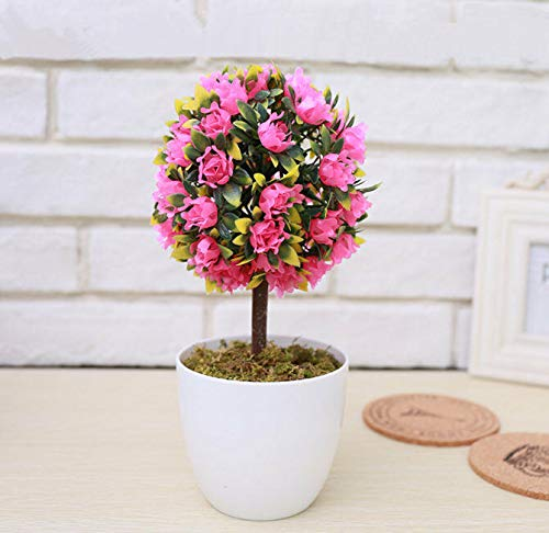 FidgetKute Artificial Rose Flower Ball Potted Plants Fake Boxwood Ball Topiary House Decor Pink Rose Ball