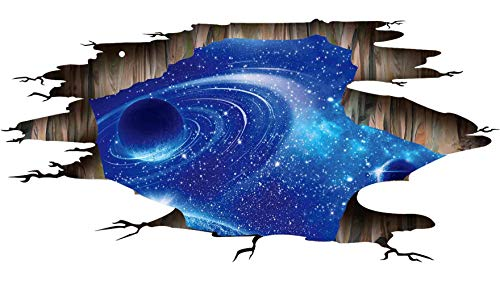Galaxy Planet Space Murals Wall Decal - Creative 3D Cosmic Milky Way Floor/Ceiling/Window Removable Wall Stickers Self-Adhesive Wallpaper Decor for Home