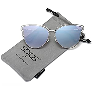 SojoS Womens Fashion Double Wire Flash Mirrored Lens Cat Eye Sunglasses SJ1049 With Silver Frame/Blue Grey Mirrored Lens