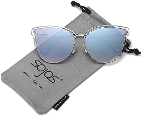SojoS Womens Fashion Double Wire Flash Mirrored Lens Cateye Sunglasses SJ1049