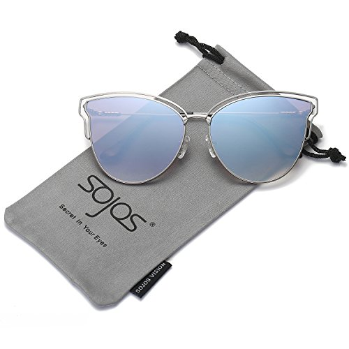26d55a7879 SojoS Womens Fashion Double Wire Flash Mirrored Lens Cat Eye Sunglasses  SJ1049 With Silver Frame