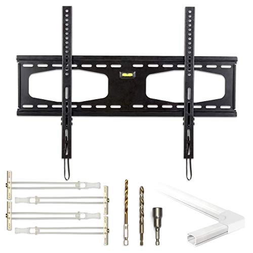 - Fixed TV Mount for Metal/Steel Stud Walls and Walls Without Studs, 4 x 200lbs TOGGLER Drywall Anchors, 2 x Drill Bits, 6ft Cord Concealer to Hide 6 Wires. Complete Kit. No Hardware Store Visits.