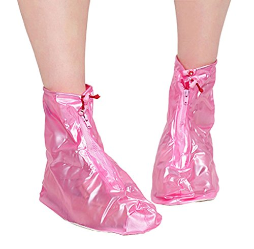 Gillberry New Waterproof Adult Flattie Rain Shoe Covers With Durable PVC Material For Travel (XXL, Pink)