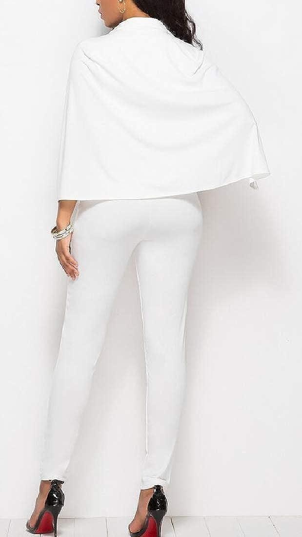 mydeshop Women Deep V Neck Cloak Sleeve Bodycon Pencil Pants Tight Long Jumpsuits