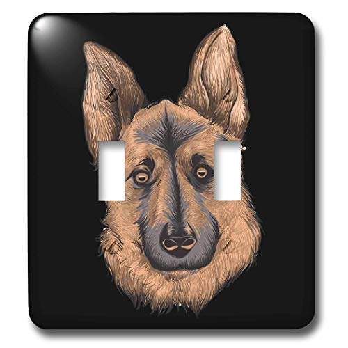 3dRose Sven Herkenrath - Animal - Portrait of a Gorgeous German Shepherd Dog on Black Background - Light Switch Covers - double toggle switch (lsp_290744_2) by 3dRose