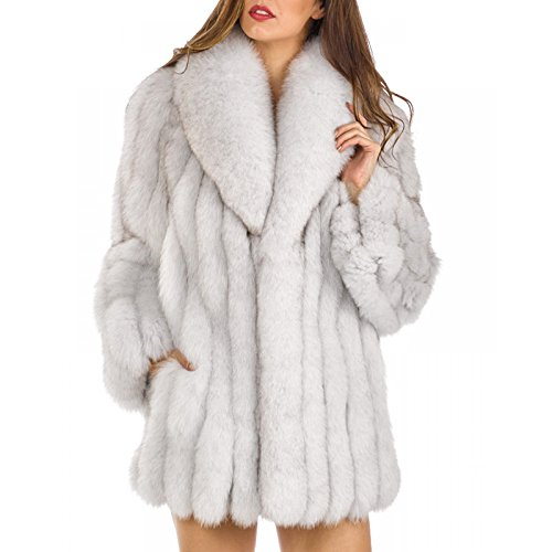 Rvxigzvi Womens Faux Fur Coat Parka Jacket Long Trench Winter Warm Tops Outerwear Overcoat Plus Size M-4XL (Fox Fur Color, - Trench Coat Fur