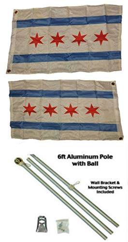 ALBATROS 2 ft x 3 ft 2x3 City of Chicago Illinois 2ply Flag Aluminum Pole Kit Ball Top for Home and Parades, Official Party, All Weather Indoors Outdoors ()