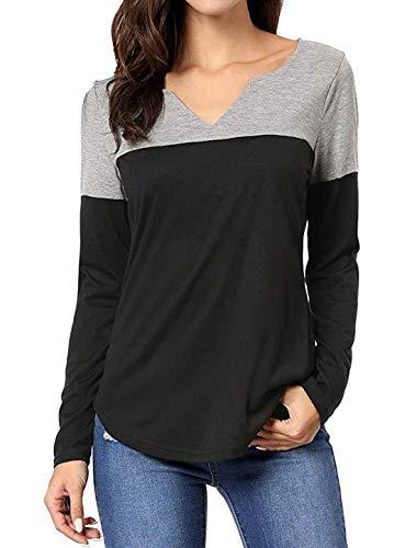 Fashion Casual Tops Automne Tee Femmes Sweat Pulls et Shirts Shirts Noir Hauts Jumper T Longues Manches Patchwork Col Printemps V Blouse Blouses xqIBI6