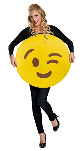 [UHC Women's Emoticon Wink Comical Theme Party Adult Halloween Costume, OS] (Emoticon Wink Costumes)