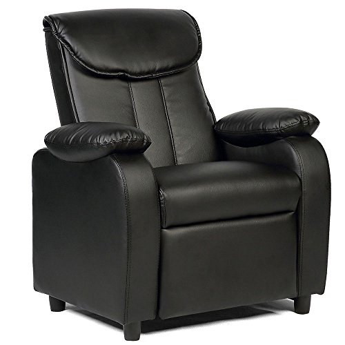 Chair Bedroom Living Room (GentleShower Padded PU Leather Kids Recliner with Overstuff Armrest/Headrest, Contemporary Children Reclining Sofa Upholstered Chair for Living Room Bedroom (Black))