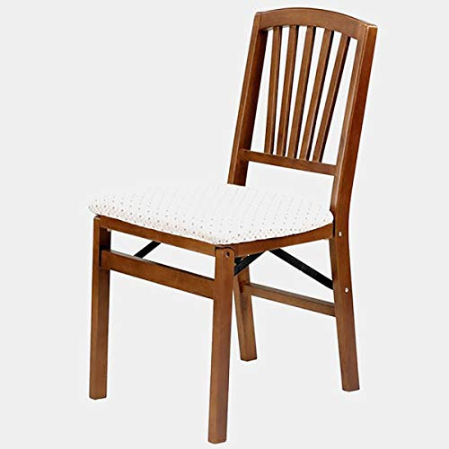 Wood Dining Chair with Polyester Upholstery - Foldable Dining Chair with Windsor Back - Set of 2 - Fruitwood