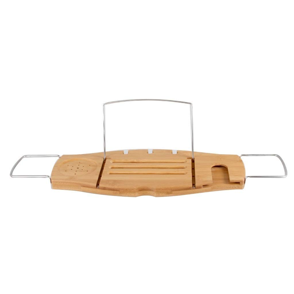 Bathtub Trays Rack Extending Luxury Bamboo Bath Bridge Rack Caddy Tablet Rest, Glass Holder Caddy Tray Bathroom Shelf Wineglass Holder and Other Accessories Placement for a Home Spa Experience Multifu