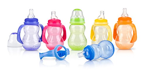 Nuby Non-Drip Wide Neck Bottle, 10 Ounce, Colors May Vary - Pack of 1