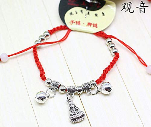 Lucky red String s999 fine Silver Sterling Boutique Gold Bells Men Women Girls Children Under Foot Chain Anklet Ankle Bracelet Jewelry Bag Trend ([. red String. Goddess of Mercy. ] ()