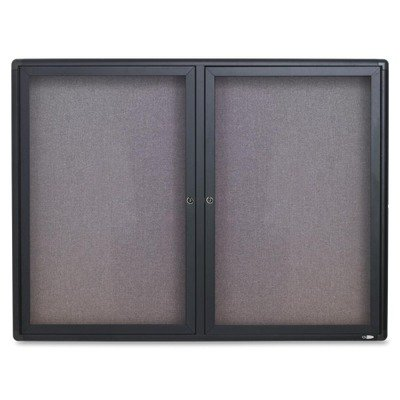 Quartet Enclosed Bulletin Board, Fabric Covered Cork, 48 x 36, Gray, Aluminum Frame