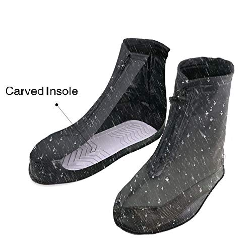 ARUNNERS Black Rain Shoes Covers Boots Overshoes Galoshes for Men(4XL)