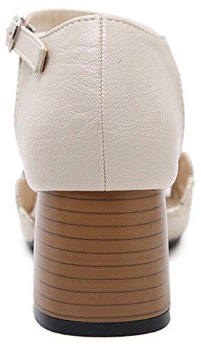 Aisun Damen Neu Geschlossen Cut-Out Spitz Zehe Blockabsatz Sandalen Mit Schnalle Beige