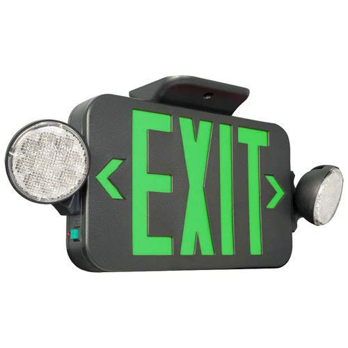 - Black LED Exit Sign Emergency Light Combo with Green Letters