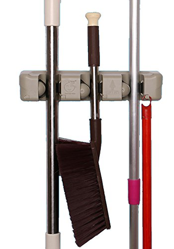 Cinlv 2 Pack Mop and Broom Holder, Wall Mounted Garden Tool Storage Tool Rack Storage & Organization for Your Home, Closet, Garage and Shed from Cinlv