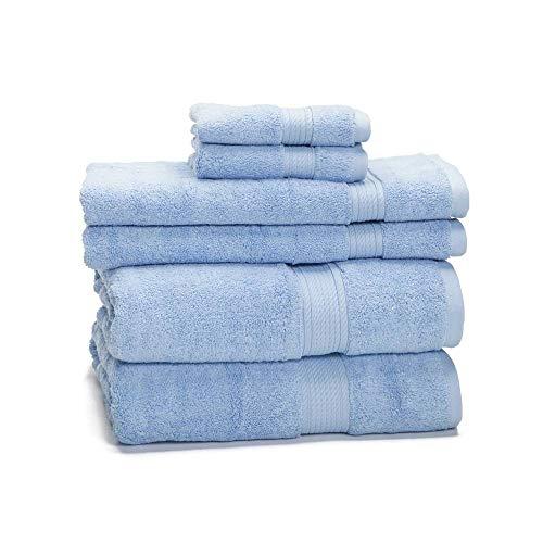 "900 GSM 100% Egyptian Cotton 6-Piece Towel Set - Premium Hotel Quality Towel Sets - Heavy Weight & Absorbent - 2 Bath Towels 30"" x 55"", 2 Hand Towels 20"" x 30"", 2 Washcloths 13"" x 13"" Light Blue"