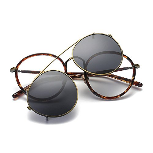 MINCL/Retro Round Tr90 Frame Polarized Sunglasses Clip on Flat Eyeglasses Men Women - For Round Clip On Eyeglasses Sunglasses