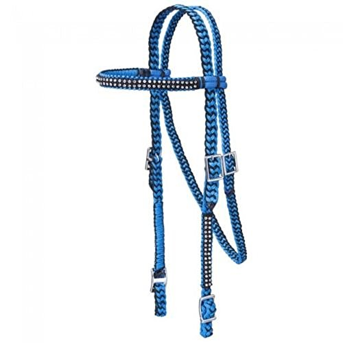 Nylon Horse Barrel Racing Browband Braided Headstall Bridle Crystal Accents (Turquoise/Black)
