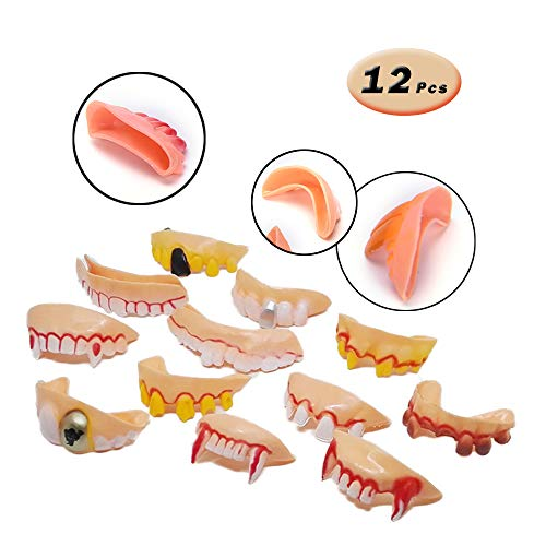 12 Pcs Funny Teeth Ugly Fake Teeth Prank Toy Plastic Troubled Teeth, for Halloween Christmas -