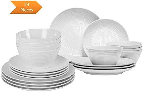 Parhoma White Melamine Plastic Home Dinnerware Set, 24-Piece Service for 8 people (Dinnerware Melamine White)
