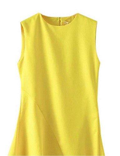 PU&PU Robe Aux femmes Gaine Street Chic,Couleur Pleine Col Arrondi Asymétrique Polyester , yellow-2xl , yellow-2xl