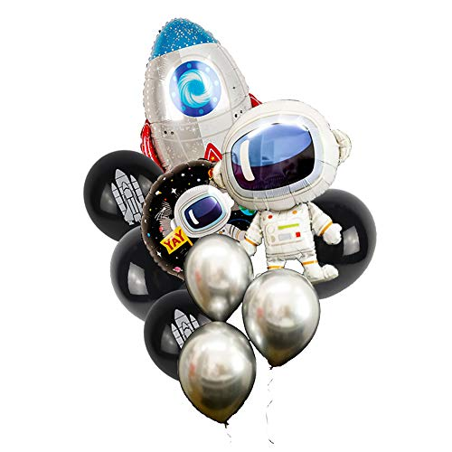 10Pcs Outer Space Party Balloons Boy Birthday Baby Shower Chrome Silver Black Galaxy Astronaut Airship Space Theme Baby Shower Party Supplies Decoration -