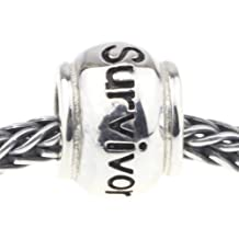 Solid Sterling Silver Letters of Survivor Bead Charm Fits Biagi Pandora Pugster Troll Chamilia