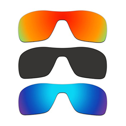 3 Pair ACOMPATIBLE Replacement Polarized Lenses for Oakley Turbine Rotor Sunglasses OO9307 Pack - Rotor Turbine