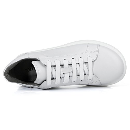 Sneakers Donna Roseg In Pelle Con Plateau Casual Oxford Bianco