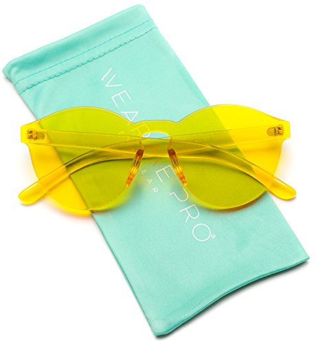 - WearMe Pro - Colorful One Piece Transparent Round Super Retro Sunglasses