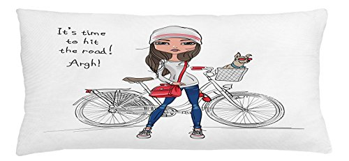 Cute Throw Pillow Cushion Cover by Lunarable, Hipster Fashion Girl with Bicycle and Cute Dog with Sunglasses Inspirational Quote, Decorative Square Accent Pillow Case, 36 X 16 Inches, Red Grey - Quote Blues Sunglasses Brothers