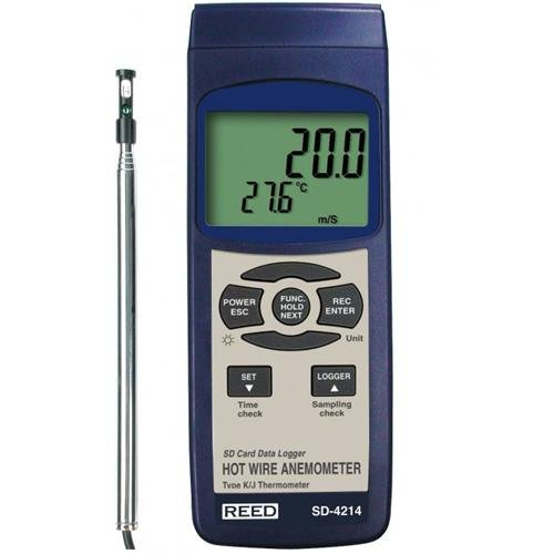 REED Instruments SD-4214 SD Series Hot Wire Thermo-Anemometer, Datalogger, w/Temperature