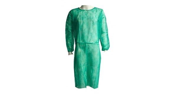 Bata hospitalaria desechable verde con puño elástico de algodón. Caja 100 uds: Amazon.es: Bricolaje y herramientas